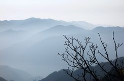 Żółte góry w ranku, Huangshan, Chiny obraz stock
