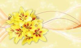 Żółte leluje na pięknym tle zdjęcia stock