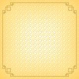 Żółtego chińskiego małego fan abstrakcjonistyczny tło z złoto granicą Obraz Stock