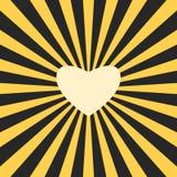 Żółtego serca kształtny słońce w czarnej ciemności Miłości, udzielenia, ciepła i szczerości pojęcie, Płaski projekt Wektorowa ilu obraz stock