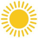 Żółtego złota słońca ikona odizolowywająca na tle Nowożytny płaski piktogram, biznes, marketing, internet c ilustracja wektor