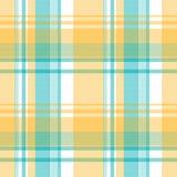 Żółtej błękitnej Lite koloru piksla szkockiej kraty tkaniny bezszwowa tekstura Zdjęcia Stock
