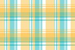 Żółtej błękitnej Lite koloru piksla szkockiej kraty tkaniny bezszwowa tekstura Zdjęcie Stock