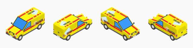 Żółtej poczta isometric ciężarówka akcyjny wektorowy wizerunek ilustracja wektor
