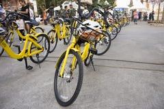 Żółty bicykl dla podróżników ludzi dzierżawi jechać na rowerze wycieczkę turysyczną wokoło uderzenia Mod festiwalu Zdjęcia Royalty Free