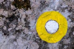 Żółty blask na skale fotografia stock