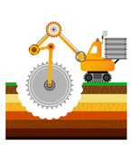 Żółty buldożer kopie ziemię ziemski Andalusia przemysł mąci górniczego Spain Warstwy ziemia Zdjęcia Royalty Free