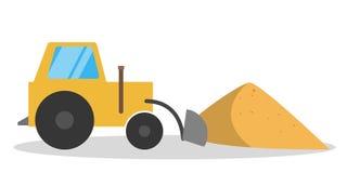 Żółty ciągnik lub buldożer przy piasek stertą ilustracji