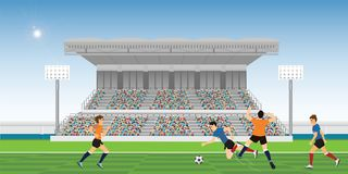 Żółty gracz piłki nożnej popełnia faul Zdjęcie Stock