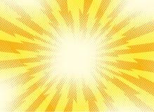 Żółty i pomarańczowy wystrzał sztuki retro tło z wybuchać promienie o royalty ilustracja