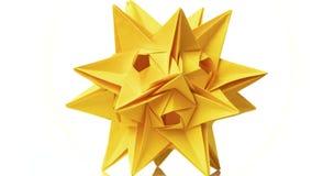 Żółty origami przekształcać spiky piłkę royalty ilustracja