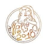 Żółty pies dla nowego roku 2018, śliczny symbol horoskop Śliczny szczeniak w kreskówki doodle stylu ilustracji