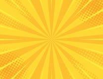 Żółty Retro rocznika stylu tło z słońce promieni wektoru ilustracją obrazy royalty free