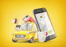 Żółty retro taxi samochód blisko telefonu z podróż b Zdjęcia Stock