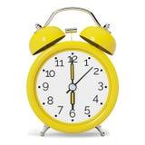 Żółty rocznika budzik Frontowy widok Zdjęcia Stock