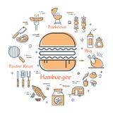 Żółty round pojęcie smakowity hamburger ilustracji