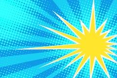 Żółty słońce na niebieskim niebie Zdjęcia Royalty Free