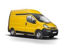 Żółty samochód dostawczy odizolowywający na bielu Obrazy Royalty Free