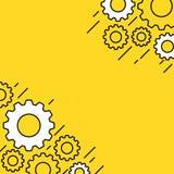 Żółty sztandar z przekładni kołami Zdjęcie Royalty Free