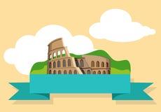 Żółty Włochy tło z Colosseum ilustracji