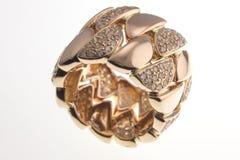 Żółty złocisty pierścionek Fotografia Stock
