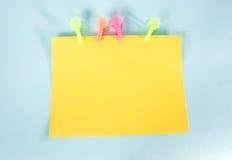Żółty zarządu wiadomość zdjęcie stock