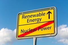 Żółty znak uliczny z energią odnawialną naprzód opuszcza jądrowego p obraz royalty free