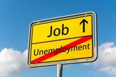 Żółty znak uliczny z pracą naprzód opuszcza bezrobocie behind obrazy royalty free