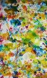 Żółtych czerwonych pomarańcze zieleni szarość menchii błękitni żywi odcienie, wosk farby akwareli kreatywnie tło Obrazy Stock