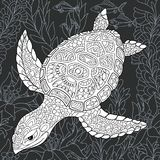Żółw w czarny i biały stylu ilustracji