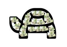 Żółw zakrywający z pieniądze na białym tle ilustracji