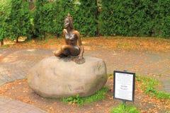 'żaba' - brązowa rzeźba w mieście Svetlogorsk Zdjęcie Stock