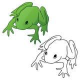 Żaba w pełnego koloru zieleni i czerń konturu wersja odizolowywającej wektorowej ilustracji tonuje obraz royalty free