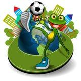 Żaba z piłką i kulą ziemską Zdjęcie Stock
