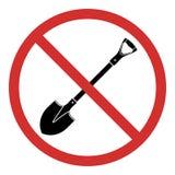 Żadny łopata Ja zakazuje wykopaliska Znak zakaz Wektorowa ikona odizolowywająca na lekkim tle ilustracja wektor