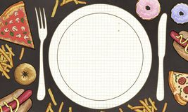 Żadny apetyt Anorexia ilustrujący z pustym talerzem ilustracji
