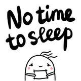 Żadny czas spać ręka rysującego literowanie z śpiącym marshmallow ilustracji