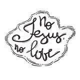 Żadny Jezus Żadny miłość - motywacyjny wycena literowanie, religijny plakat ilustracja wektor