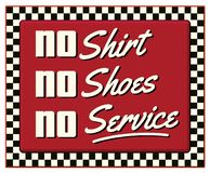 Żadny koszula Żadny buty Żadny Usługowego gościa restauracji Retro znak ilustracji