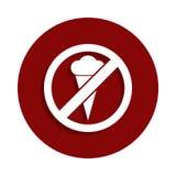 żadny lody, zabraniająca szyldowa ikona w odznaka stylu Jeden spadek inkasowa ikona może używać dla UI, UX ilustracji
