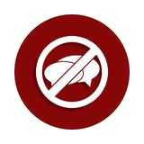 Żadny opowiadać, zabraniająca szyldowa ikona w odznaka stylu Jeden spadek inkasowa ikona może używać dla UI, UX ilustracja wektor