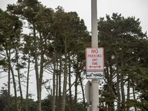 Żadny parking znak z strzałami wskazuje oba kierunki wiesza z drzewami o każdej porze zdjęcie royalty free