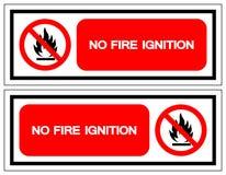 Żadny Pożarniczy Zapłonowy symbolu znak, Wektorowa ilustracja, Odizolowywa Na Białej tło etykietce EPS10 royalty ilustracja