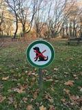 Żadny psy pozwolić znaka przed boiskami Fotografia Stock