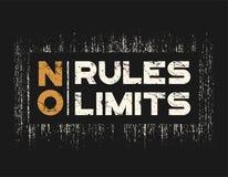 Żadny reguły żadny ograniczenia koszulki i odzież projekt z grunge skutkiem Obrazy Royalty Free
