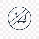 Żadny wózek na zakupy wektorowa ikona odizolowywająca na przejrzystym tle, royalty ilustracja