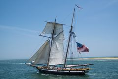 Żaglówka żegluje z schronienia oceanu ` s otwarty nawadnia Fotografia Royalty Free