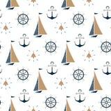 Żaglówka, statku dzwon, nautyczna kotwica, kierownica bezszwowy wzór ilustracja wektor
