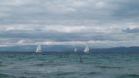 Żaglówki i jachty na dennym oceanu tła krajobrazie zdjęcie stock