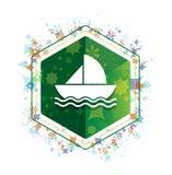 Żaglówki ikony rośliien wzoru zieleni sześciokąta kwiecisty guzik royalty ilustracja